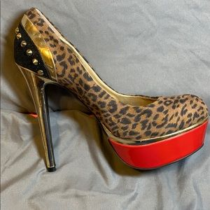 Gold spiked Stilettos Leopard print red bottom